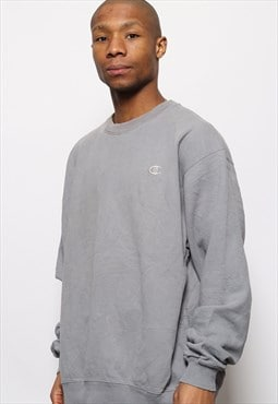 Vintage Champion Big Spell Out Logo Sweatshirt Grey