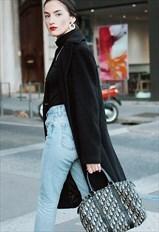 90's vintage dark grey cashmere coat