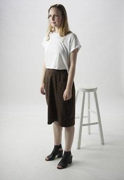 Snakeskin Pencil Skirt / High Waisted Brown Skirt