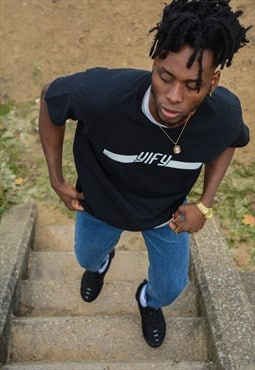 Stripe logo T-shirt in black.
