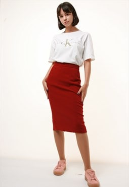 80s Vintage KENZO Wool Midi Pencil Skirt 1050