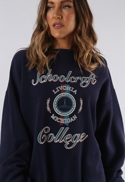 Vintage Sweatshirt Jumper Oversized COLLEGE Print XL (CCR)