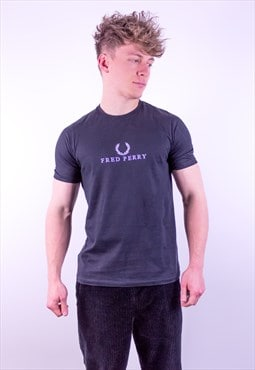 Vintage Fred Perry Embroidery Spell Out T-Shirt in Black