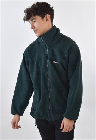 VINTAGE 90S GREEN BERGHAUS ZIP UP FLEECE