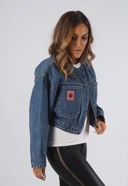 Vintage Cropped Denim Jacket Oversized Short UK 12  (RBL)