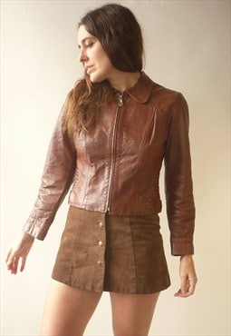 1970's Vintage Brown Cropped Leather Jacket