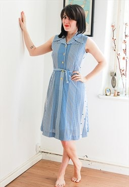 Vintage White & Blue Printed 70s Style Dress