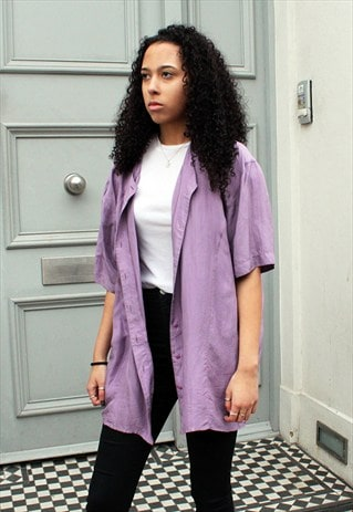 VINTAGE MAUVE SHORT SLEEVE SILK SHIRT