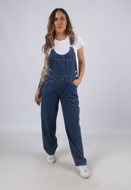 Vintage Denim Dungarees Wide Leg UK 8 XS (K4F)