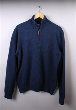 Mens Ralph Lauren Dark Blue Multi Quarter Zip Jumper