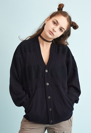 90'S RETRO FAUX SUEDE DETAILED KNIT NAVY BLUE CARDIGAN