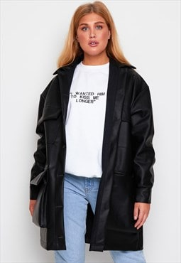 'pockets' leather coat