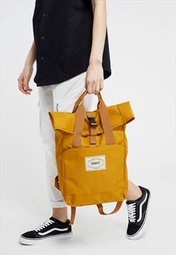 Roll-Top rucksack in Mustard with Old School Junkbox patch