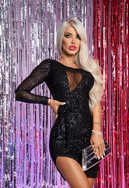 One shoulder black sparkle dress with cut out mesh