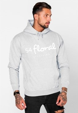 54 Floral Large Graphic Hoody - Grey/White