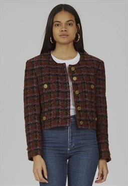 Vintage rare Moschino 90's cropped tweed jacket