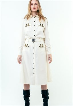 A-Line Wool Button Up Midi Skirt With Pockets White