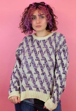 Vintage Cosy Knitted Jumper In White and Purple
