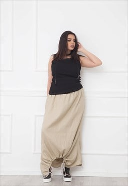 Linen Skirt With Gather Detail
