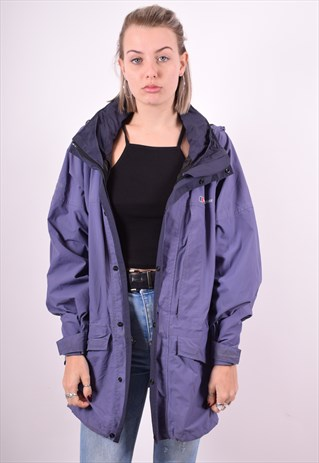 BERGHAUS WOMENS VINTAGE WINDBREAKER JACKET XL PURPLE 90'S