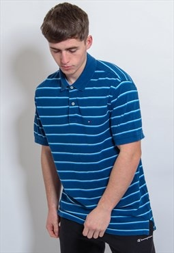 Vintage Tommy Hilfiger Striped Polo Shirt in Blue Large