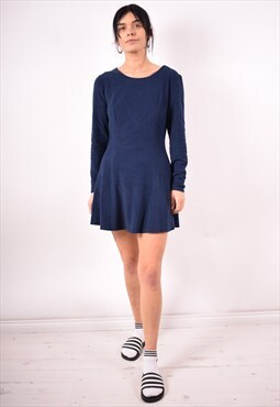 Benetton Womens Vintage Dress Small Navy Blue 90s