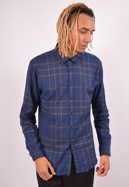 Vintage Burberry Shirt Check Navy Blue