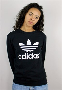 Vintage 90s Adidas Logo Sweatshirt Black