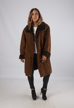 Vintage Sheepskin Suede Shearling Coat UK 16 - 18 (9BV)