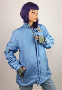 Vintage Napapijri Soft Shell Winter Jacket in Blue