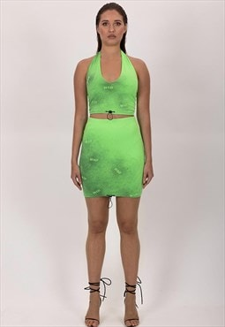 Neon green mini skirt handmade custom