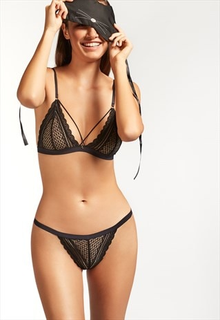 LACE TRIANGLE STRAP BRA AND BRAZILIAN KNICKERS SET WITH MASK