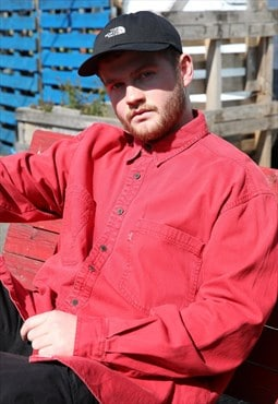 Vintage Levi's Bright Red Shirt With Metal Buttons
