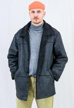 Faux fur jacket black sheraling suede sherpa fake leather