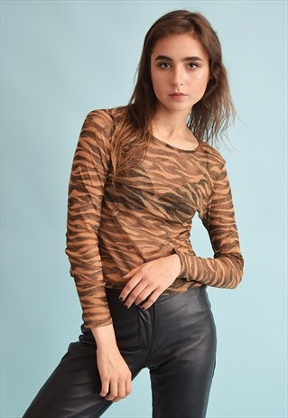 90'S RETRO KITSCH ANIMAL PRINT SHIMMER MESH FESTIVAL TOP