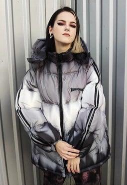 Gradient space bomber tie-dye Y2K puffer jacket grey silver