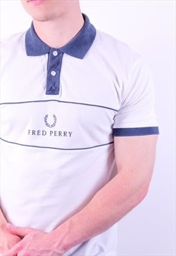 Vintage Fred Perry Spell Out Polo Shirt in White