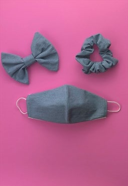 light blue denim face covering set & scrunchie or hair bow
