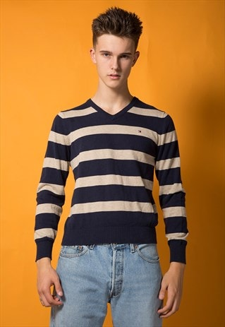 TOMMY HILFIGER STRIPED V NECK JUMPER
