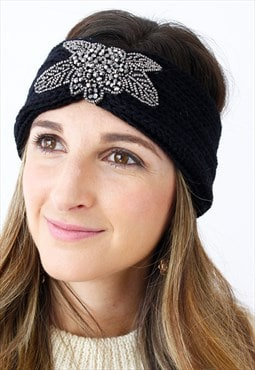Black Silver Beaded Ribbed Knitted Turban Headband