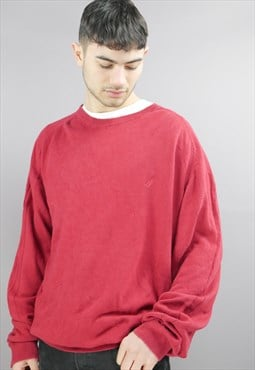 Vintage Nautica Sweater In Red With Logo