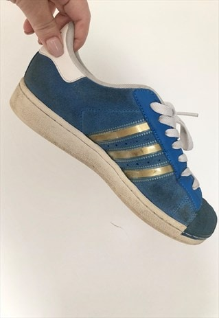 VINTAGE ADIDAS SUPERSTAR TRAINERS BLUE SUEDE UK 5