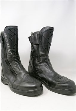 DAYTONA Black Leather Motorcycle Boot With Logo