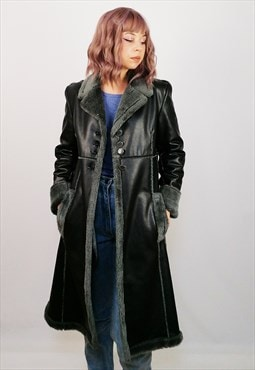 Vintage 90's Faux Leather Shearling Long Black Coat Winter