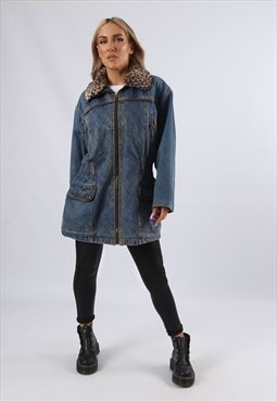 Vintage Denim Parka Jacket Oversized Longline UK 12 M (BUAF)