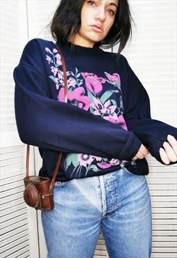 Vintage 90s Floral print blue crew neck oversized sweatshirt