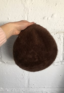 Vintage Kangol Fluffy Beret Hat Brown