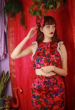 Reworked vintage 80's two piece frilly skirt suit