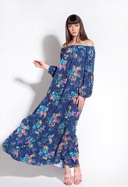 Blue Maxi Dress/ Floral Maxi dress/ Off the shoulders dress/