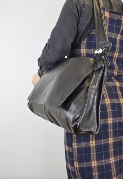 Vintage Italian Leather Satchel Black Slouchy